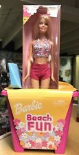 Beach Fun Barbie Doll Play Set Sand Bucket Pail Shovel Pink Bikini 2002 New