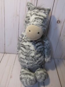 "*Jellycat Sweetie Zebra Plush Gray White Stripes 12"" Soft Toy Stuffed Animal"