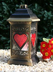 LED Grablicht Herz Grablampe Grablaterne Bronze Grabschmuck Kerze + Batterien