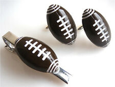 GORGEOUS HANDMADE UNIQUE TIE PIN AND CUFFLINKS SET RUGBY + FREE GIFT BAG
