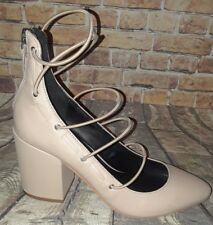 "Rebecca Minkoff ""Lexi"" Latte Nude Leather Strappy Block Heel Pump size 7M"