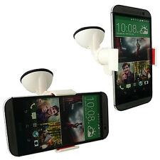 Supporto auto macchina ventosa parabrezza vetro pinze per HTC ONE M8 - Bianco