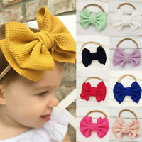Baby Kids Hair Ball Multicolor Printing Headband Elastic Bow Design Hair Band