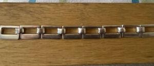 Vintage .925 Sterling Silver Modernist Panel T-Bar BRACELET (34g)