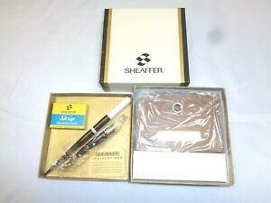 Vintage SHEAFFER Wood Fountain Pen Desk Set & Ink Cartridges~New!