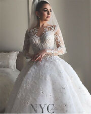 2017 Pearls White Ivory Wedding Dresses Appliques Bridal Ball Gowns Custom Made