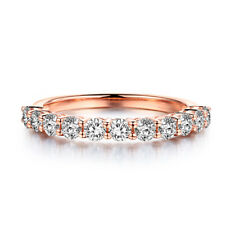 Solid 10K Rose Gold Round 0.8ct Moissanite Wedding Anniversary Bands Ladys Ring