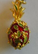 Russian Faberge Egg Pendant Pineapple Red and Flowers with Certificate