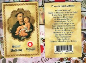 Saint St. Anthony with Prayer - Relic Paperstock Holy Card