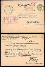 "GERMANY - 1933 Official Postal Card ""Wiesbaden to Frankfurt"""