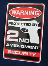 Warning 2nd Amendment Security *US MADE* Embossed Metal Tin Sign Man Cave Garage