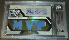 2008 TRIPLE THREADS GOLD BARRY SANDERS AUTO JERSEY BGS 9  1/3