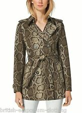MICHAEL KORS DB Python Printed Short Belted Cotton Trench Coat BNWT Medium