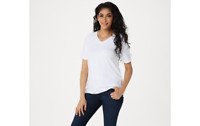 Isaac Mizrahi Live! SOHO V-Neck Elbow-Sleeve Knit Top w/ Side Insets White M A3