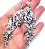 Chandelier Earrings Rhinestone Clear Crystal 3.5 in