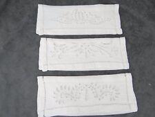 Three Antique Pure Linen Napkin Case White Work Embroidery  1
