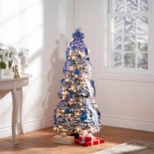4-Foot Fully Decorated Blue & White Bow Pull-Up Collapsible Christmas Tree