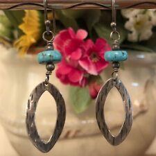 Silpada Sterling Silver Stabilized Turquoise Bead Oval Tear Earrings Wire W1862