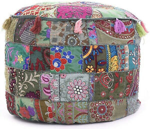 Marusthali Cotton Grey Footstool Ottoman Pouf Cover For Living Room Embroider