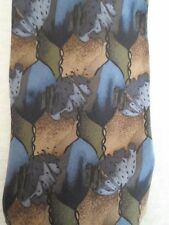 """Silk Neck Tie Multi-Color  Christopher Reeve Collection 56""""L 3.75""""W Blue Gold"""