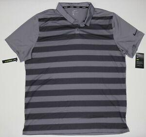 NWT Mens Nike Polo Golf Shirt Gray Striped Short Sleeve AR2581 036 Size XL