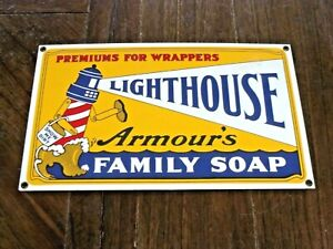 "Very Nice Armour's LIGHTHOUSE FAMILY SOAP Porcelain Metal Sign 13"" by 8"""