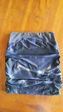 Kookai Blue with Yellow print lined gathered skirt sz1 preowned free post D81