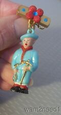 40s/50s vtg French painted plastic ALPINE MOUNTAIN CLIMBER PIN dangling figure