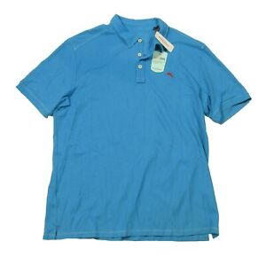 Tommy Bahama Men's Blue Tropicool Pique Spectator Short Sleeve Polo Shirt