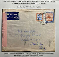 1940 Khartoum Sudan War Time Airmail Censored Cover To Dublin Ireland