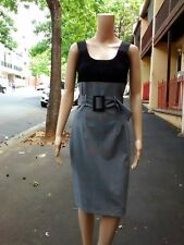 SHEIKE ~ 10 ~ Vintage Retro Black & Grey Check Belted Pencil Dress ~ RRP $150