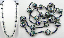 "Antique Chinese Cloisonne Enamel, Lapis Bead, Jade Bead Rope Length 39"" Necklace"