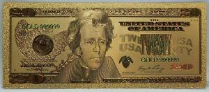 "2006 $20 US Federal Reserve Novelty 24K Gold Foil Plated Note Bill 6"" LG327"