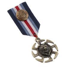Pin Badge Uniform Collar Lapel Medal Gothic Wheel Wolf Head Animal Brooch