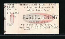 Public Enemy August 11, 2010 Concert Ticket Stub Town Ballroom Buffalo, Ny