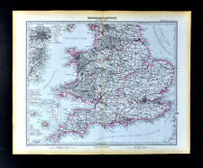 1892 Petermann Map England Wales London Liverpool Oxford Jersey Guernsey Stieler