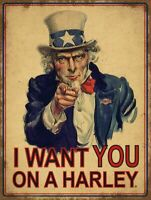 HARLEY DAVIDSON UNCLE SAM I WANT YOU HEAVY DUTY USA MADE METAL ADVERTISING SIGN