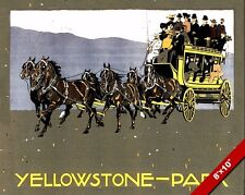 VINTAGE YELLOWSTONE NATIONAL PARK TOUR TRAVEL AD POSTER ART REAL CANVAS PRINT