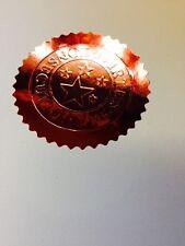30 x Bronze Foil SealS Embossed Certificates Wafer Thin 50mm Labels VIRTUS