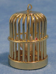 1:12 Scale Metal Bird Cage With A Fixed Bird Tumdee Dolls House Miniature Pet
