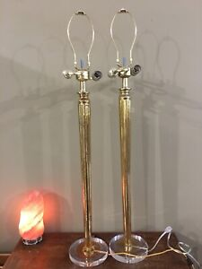 Pair Of 2 Light Table Lamps MCM Hollywood Regency Art Deco Style Mercury Glass