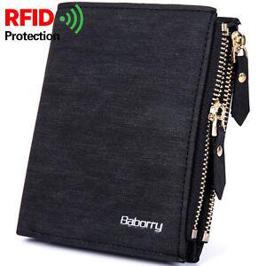 New Men's RFID Blocking Leather Purse Pocket Money Clip Zipper Bag Short Wallet