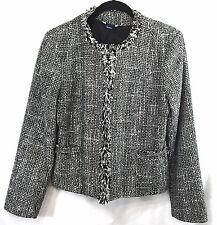 Reitmans Jacket Blazer Womens Size Medium Black White Fringe 2 Pockets Lined
