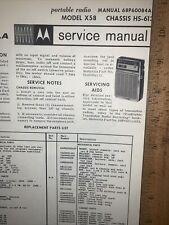 Motorola Portable Radio -Model X58- Schematics, Parts List.