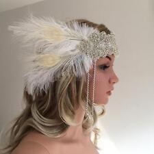 MagiDeal White Feather Ribbon Flapper Headband 1920s Gatsby Bridal Headpiece
