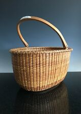 A Large Signed Oval Lightship Basket With Inlaid Inscription Plaque