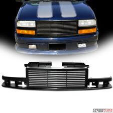Matte Blk Horizontal Billet Front Grill Grille Kit 98-04 Chevy S10 Blazer/Pickup