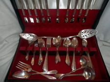 1936 WM. Rogers Meadowbrook Heather Silver Plated Flatware 76 pc.+ Storage Box