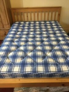 Pine Double Bed with good quality mattress