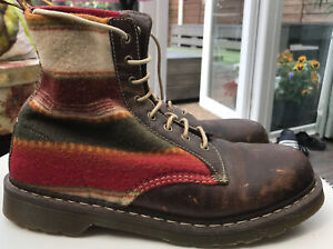 Dr Martens 1460 Pendleton 8 Hole brown leather / Wool boots UK 12 EU 47 Worn